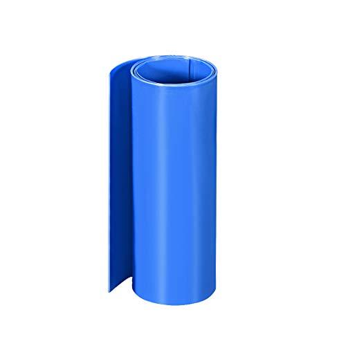 sourcing map PVC Schrumpfschlauch 160 mm Flache Wicklung für Doppelschicht 18650 1 Meter Blau