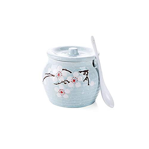 haimai Caja de condimentos de cerámica para condimentos de cocina, tarros de especias para el hogar, condimentos, botellas (color azul)