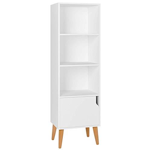 Homfa Bibliothèque Style Scandinave Etagère de Sol avec 4 Pieds et Une Porte pour Bureau Rangementen Salle en Bois (Blanc)