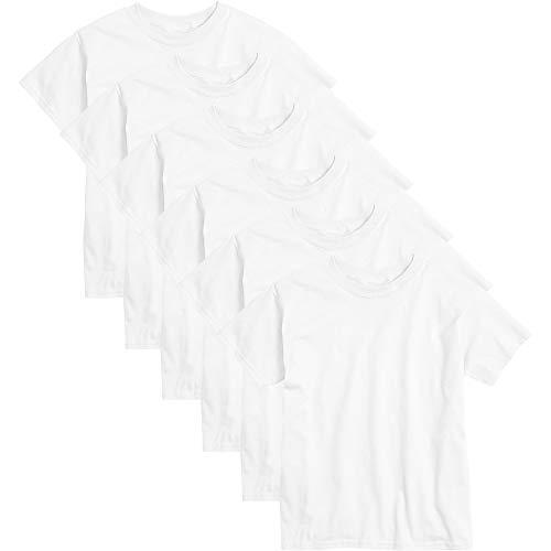 Hanes Big Boys' Comfortsoft T-Shirt (Pack of 6), White, Medium