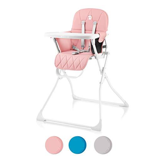 Kompakter Hochstuhl für Babys, Verstellbar und Klappbar - Kinderstuhl mit Tisch, Abnehmbares BPA-freies Tablett, Schicker Hochsitz mit Komfortpolster - Babystuhl mit 5-Punkt Gurt