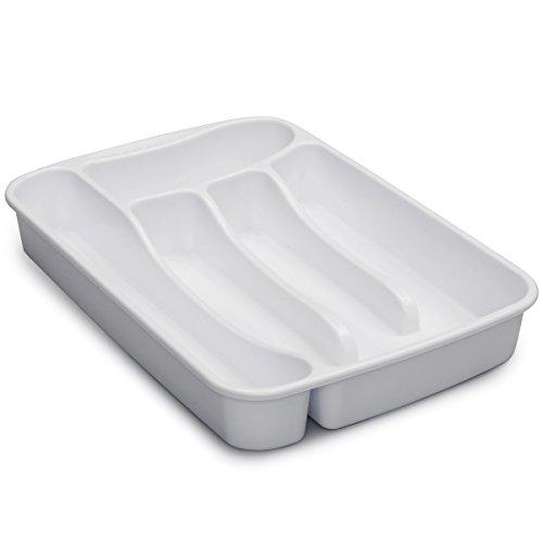 Besteckkasten weiß 5 Fächer Besteckeinsatz für Schubladen Organizer Schubladeneinsatz Besteckbox Kunststoff Box Besteck Aufbewahrung Kasten Schubkasten Küchen Essbesteckeinsatz Küchenschrank Camping