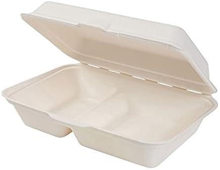 Preisvergleich für BIOZOYG Bio Einweg Bagasse Schalen Zuckerrohr Einweggeschirr biologisch abbaubar I Lunch-Box geteilt 2 Kammern Klappdeckel-Box Schale Kompostierbar 650 ml I 500 Menüschalen rechteckig 16x24 cm weiß