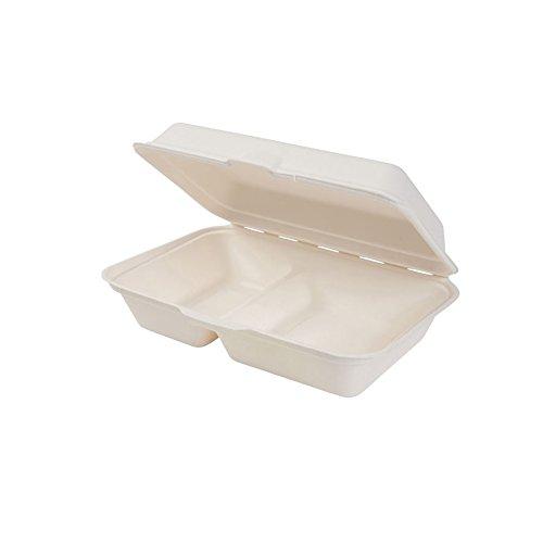 BIOZOYG Bio Einweg Bagasse Schalen Zuckerrohr Einweggeschirr biologisch abbaubar I Lunch-Box geteilt 2 Kammern Klappdeckel-Box Schale Kompostierbar 650 ml I 500 Menüschalen rechteckig 16x24 cm weiß
