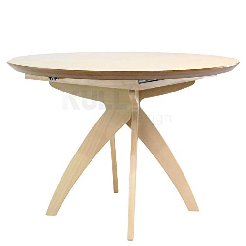 Mesa redonda extensible en madera de haya 120 cm.