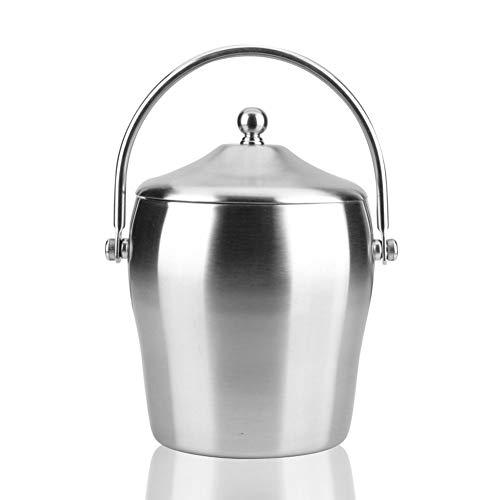 WWWANG Cubo de Hielo de Pared Doble de Acero Inoxidable Aislado con Tapa Tong Asas Laterales de 2 litros Almacenamiento pequeño, práctico y portátil (Color : Silver, Size : 15 * 22cm)
