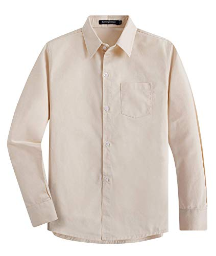 Spring & Gege Garçons Chemises Classique de Couleur Unie Uniforme Scolaire de Coton pour Enfants Beige 13-14 Ans
