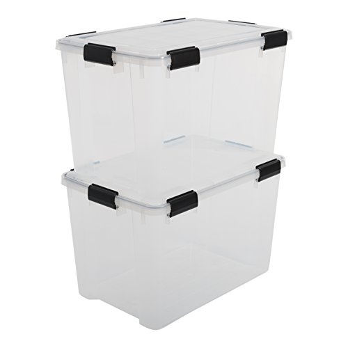 Iris Boxen All-Weather Box, 2er-Set, AT-LD, für herausfordernde Lagerbedingungen, Plastik, transparent, 70 L
