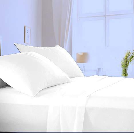 Made in Italy - Completo Lenzuola + Federa per letto Singolo in puro cotone di alta qualità 100% Made in Italy (sotto con Angoli H 20cm) Angel's (Bianco, Singolo)