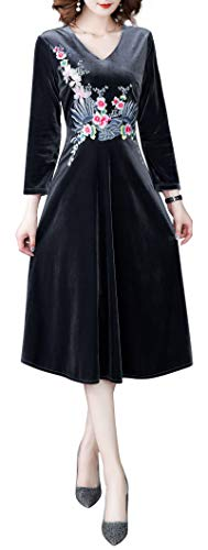 Women V Neck 3/4 Sleeve Pleated Swing A-line Skater Cocktail Dress With Belt