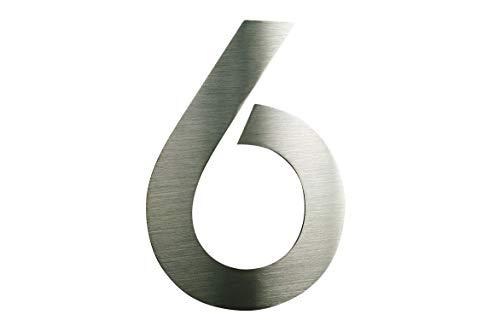 6 Hausnummer Edelstahl V2A ITC Bauhaus Design 2D rostfrei witterungsbeständig 20cm Hoch 0 1 2 3 4 5...