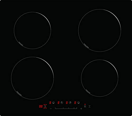 Placa de inducción 6800 W, eléctrica incorporada de vitrocerámica con 4 fuegos, color negro