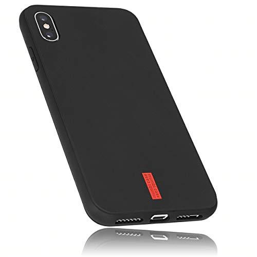 mumbi Hülle kompatibel mit iPhone XS Max Handy Hülle Handyhülle, schwarz mit rotem Streifen