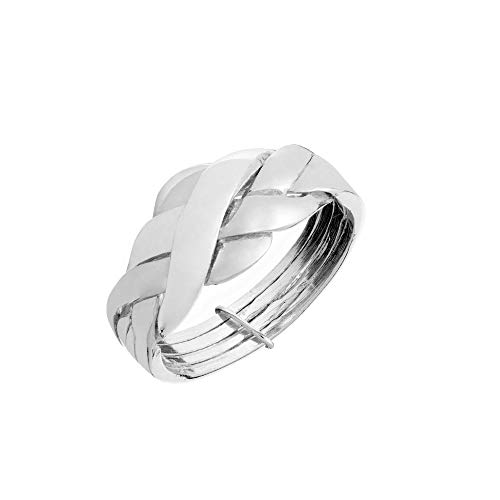 Silverly Women's .925 Sterling Silver Braided Woven Multi-Band Puzzle Ring, L 1/2