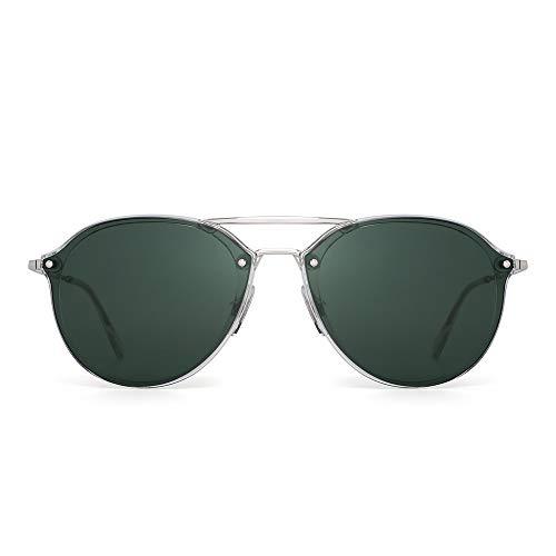 JIM HALO Aviator Sunglasses Designer Round Lens Shades for Men Women Green