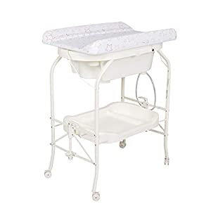 Kinfant Bathinette Folding Changing Table Baby Diaper Station with Bath Tub Unit, Portable Children Baby Dresser Unit Infant Nursery Trays Storage