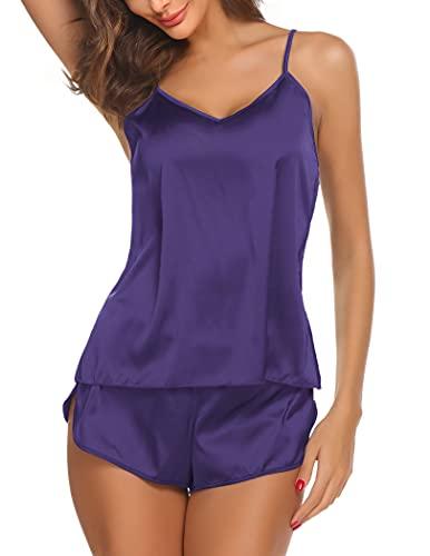 Ekouaer Sleepwear Womens Sexy Lingerie Satin Pajamas Cami Shorts Set Nightwear,Large,Purple
