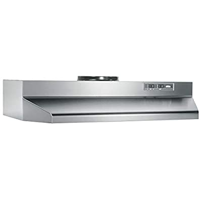 Broan-Nutone 423604 Range Hood Insert with Light, Exhaust Fan for Under Cabinet, 6.0 Sones, 190 CFM, Stainless Steel, 36""