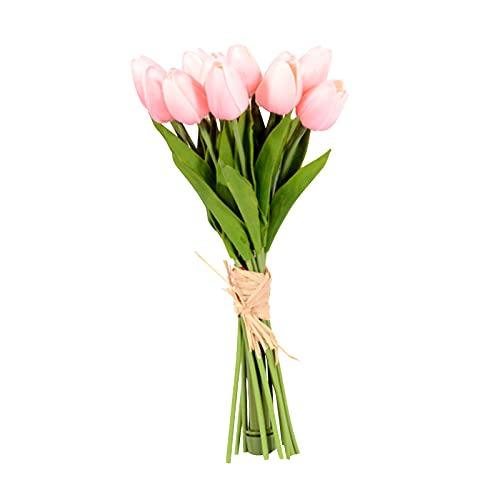 Flores artificiales de tulipanes, tulipán sosteniendo la flor con la decoración del hogar del banquete ligero LED, el tacto real, la batería con motor, para las piezas de centro de la mesa dormitorio