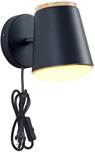 QTWW Aplique de Pared con Interruptor de Encendido/Apagado de 1 luz con Embudo, lámpara de Pared Industrial de Vid de Pantalla de Metal Negro Acampanado, Accesorio de iluminación
