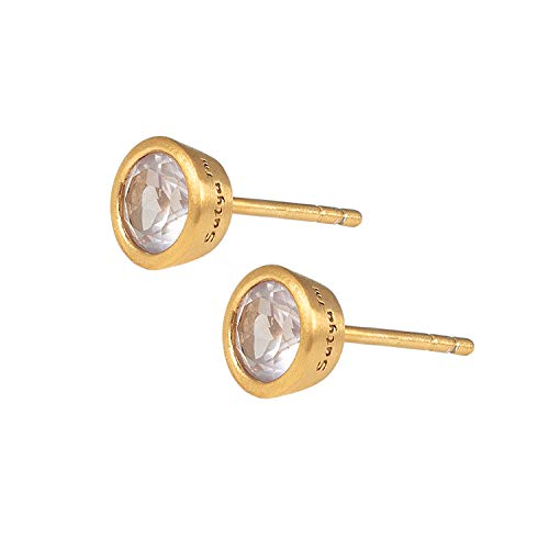 Satya Jewelry EGCB-35 Women's Earrings Gold Simply Loved Stud Earrings Rose Quartz Stone Round 18 Carat Gold-Plated