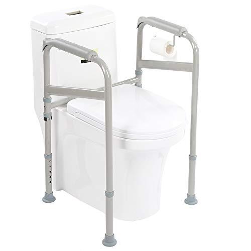 WC Aufstehhilfe, Kohlenstoffstahl Toiletten Stützgestell Haltegriff Mit rutschfesten Handläufen und Fußpolstern für ältere Menschen, behinderte und schwangere Frauen Hilfe