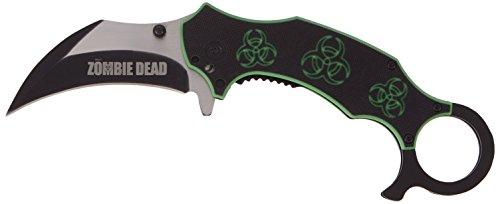 Haller Uni Zombie Dead Karambit Taschenmesser Messer, Silber, 0