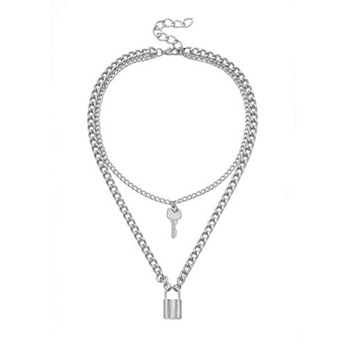 AILUOR Layered Heart Necklace Lock Key Pendant Punk Long Chain Statement Choker for Women Men Teens, Stainless Steel Jewelry Pack for Pants Punk Play (Silver2)