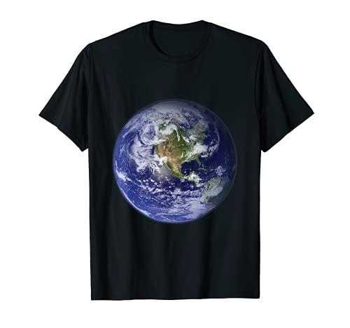 Planet Earth North America Cute Globe Space Globe Clouds T-Shirt