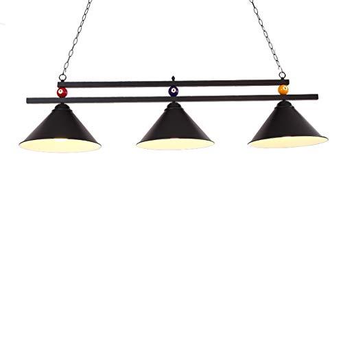 Metallkugel Design Billardtisch Billard Lampe für Spielzimmer Bier Party, Industrieller Kronleuchter mit 3 Lampenschirmen, Geeignet für Billardtische oder Kücheninsel, Shadowless (Farbe : SCHWARZ)