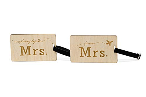 Mrs Mrs Wooden Luggage Tags Travel Cute Same Sex Lesbian Female Couples Gift - 2 Pack