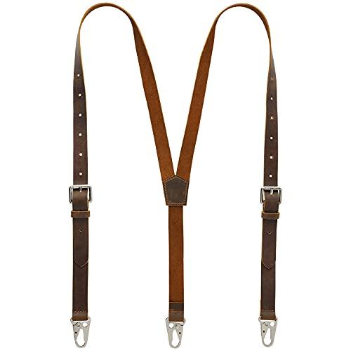 RingSun Leather Suspenders For Men, Y Design Leather Suspenders, Adjustable Mens Leather Suspenders Wedding & Party Essentials, Brown RS68