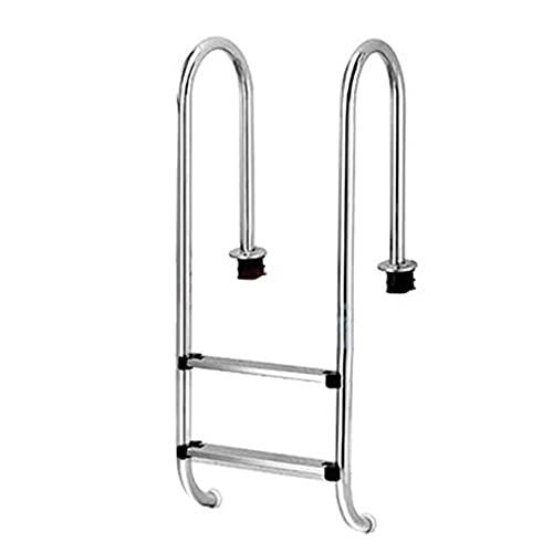 Escalera de piscina, escalera de escalada de pasamanos de piscina de acero inoxidable, marco de escalera especial para piscina, con escalera antideslizante de 2 niveles, empotrada/silver / 50c
