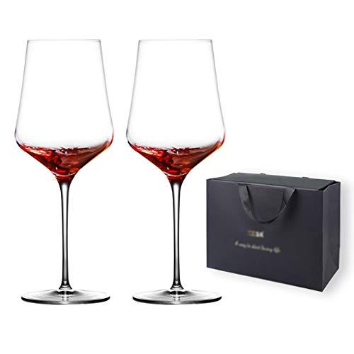 Copa De Vino Tinto De Cristal Cáliz Bolsa De Regalo Caja De Regalo Copa De Vino De Pareja Copa De Vino De Gama Alta Juego De Copa De Vino De Cristal Regalo De Boda (Color : Clear, Size : 630ML*2)