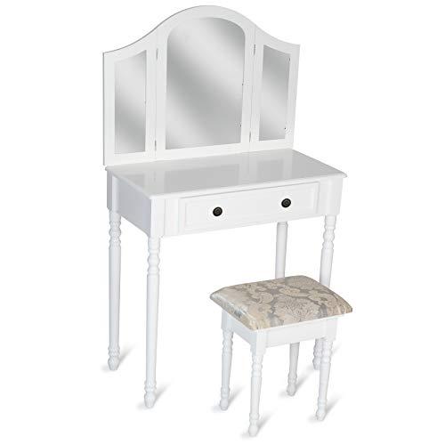 MIADOMODO® Kosmetiktisch - mit Schminkhocker und 3 teiligem Spiegel, 80 x 40 x 136 cm, eine Schublade, Weiß - Frisierkommode, Schminkkommode, Schminktisch