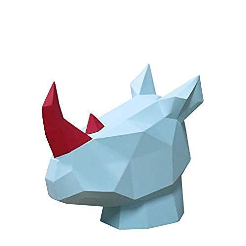 LJXLXY Decoración ManualidadesEstatua Escultura Animal nórdico geométrico Origami Rinoceronte Cabeza hogar Sala Oficina