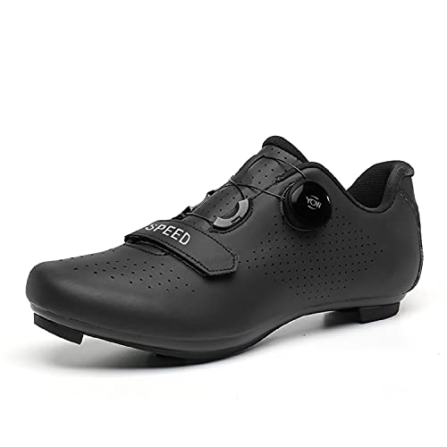 Scurtain Unisex Mens Womens Road Bike Cycling Shoes Racing Bikes Shoes with Compatible Cleat Peloton Lock Pedal for Men Women Indoor Cycling Shoes Women Peloton Compatible All Black 6.5 Men