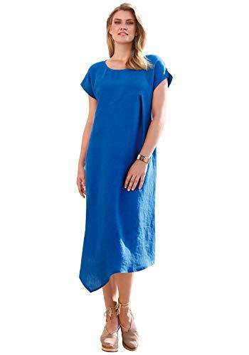 ANNA AURA Damen Kleid aus Leinen Dekorative Naht