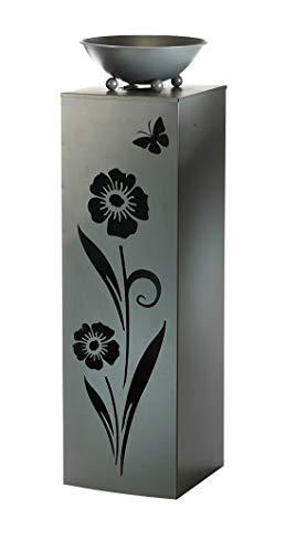 Kobolo Blumensäule Dekosäule Pflanzsäule Vogeltränke Flower - Metall Grau - 26x26x90 cm