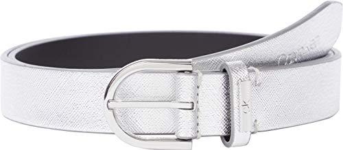 Calvin Klein Round Belt 25MM Saffiano Cinturn, Plata, 100 para Mujer