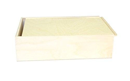 Caja de madera para tres botellas de vino, las dimensiones internas de la caja son 36 x 24 x 9 cm