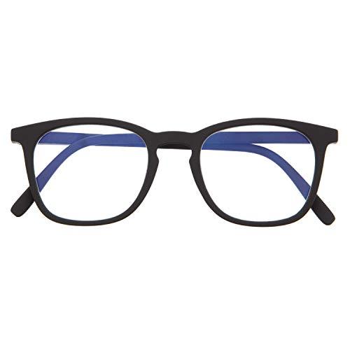 Blaulichtfilter Brille für Damen und Herren. Blaufilter Brille mit stärke oder ohne sehstärke für Gaming oder Pc. Gummi-Touch-Tempel und Blendschutzgläser. Graphite +1.0 – TATE