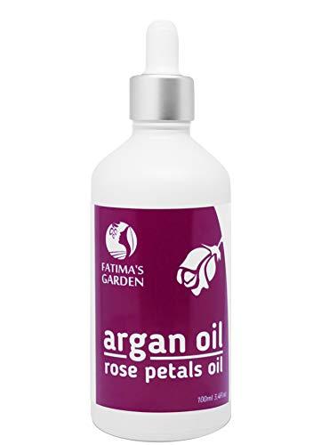 Aceite de argán con pétalos de rosa macerados de Fatima´s Garden - 100% natural para rostro, cabello, uñas - antiedad, humectante, prensado en frío, limpia la piel, fortalece el pelo-100ml
