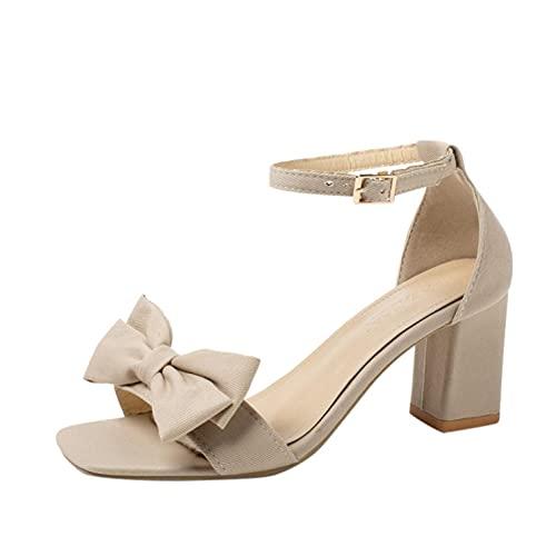 RTPR Zapatos de mujer con tacón alto, tacones gruesos, nudos de lazo, hebilla, zapatos abiertos con tacón alto, sandalias de tacón alto para mujer, beige, 39 EU