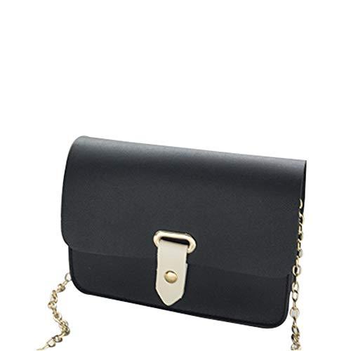 Ai-yixi Diseño Ligero y Elegante Nuevo Bolso de Mujer Simple Hombro Messenger Bag Retro Cursory Modesto Modesto Pequeño Bolsa Cuadrada Pop Salvaje (Color : Black, Size : 20 * 14 * 6CM)