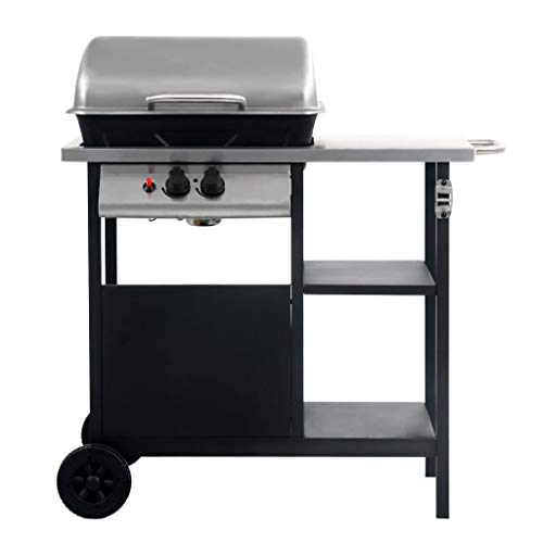 Festnight Gas BBQ Grill with 3-layer Side Table, with Wheels – Easy to Move, Piezo Ignition Black and Silver