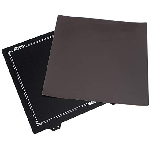 Office Equipment 235x235mm Double Layer Texture Black Powder Steel Plate with Megnetic Sticker for 3D Printer (Color : Black)