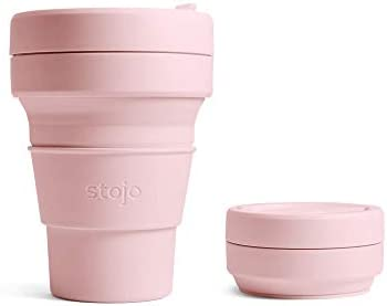 Stojo On The Go Coffee Cup Pocket Size Collapsible Silicone Travel Cup Carnation Pink 12oz 355ml product image