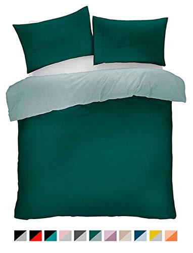 Lions Microfibre Plain Duvet Set Single Double King Quilt Cover with Pillow Cases Reversible Easy Care Bedding (Green, Double)