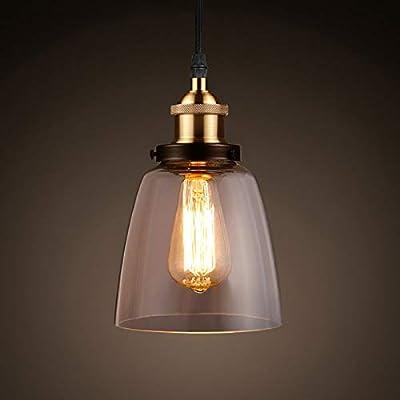 Ascher Industrial Edison Vintage Pendant Light, Clear Glass Shade 1-Light Ceiling Light Fixture, Antique Brass Brushed E26 Socket, 66.9'' Adjustable Cord, Diameter 5.91''(1 Light Bulb Included)